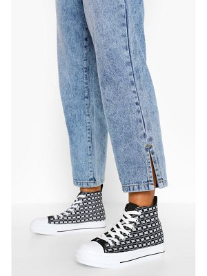 Boohoo Repeat Print Canvas High Top Sneakers