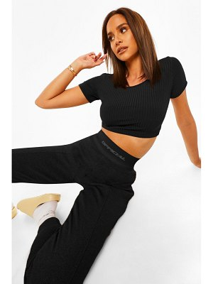 Boohoo Rib Asymmetric Crop Top
