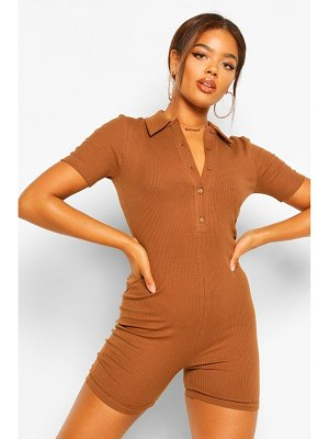 Boohoo Rib Collared Button Unitard Romper