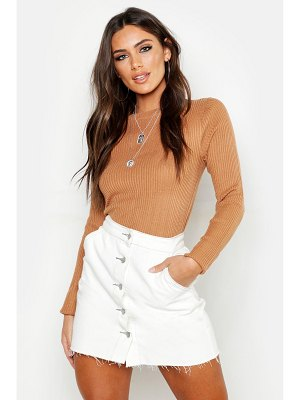 Boohoo Rib Crew Neck sweater