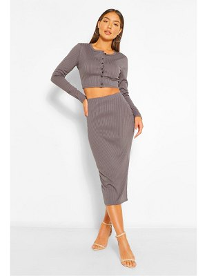 Boohoo Rib Crop Cardigan And Midi Skirt Co-Ord