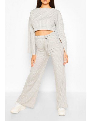 Boohoo Rib Flared Sleeve And Wide Leg Trouser Set