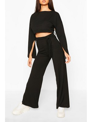 Boohoo Rib Flared Sleeve & Wide Leg Trouser Set