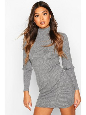 Boohoo Rib High Neck Ruffle Sleeve Mini Dress