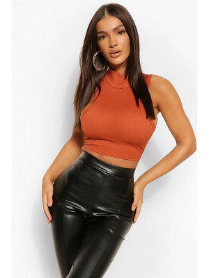 Boohoo Rib High Neck Sleeveless Crop Top