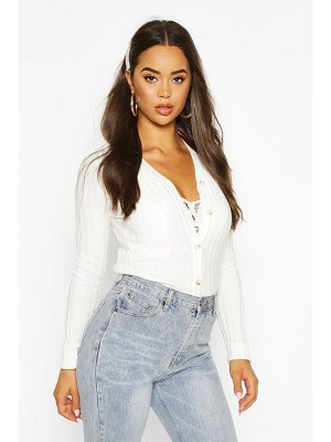 Boohoo Rib Knit Button Through Cardigan