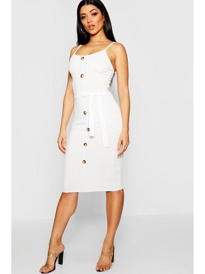 Boohoo Rib Knit Midi Button Front Belted Dress