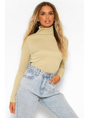 Boohoo Rib Long Sleeved Turtle Neck Top
