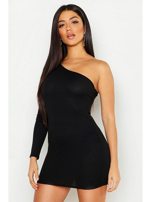 Boohoo Rib One Shoulder Bodycon Dress