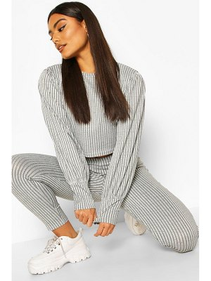 Boohoo Rib Puff Sleeve Top And Trouser Co-Ord