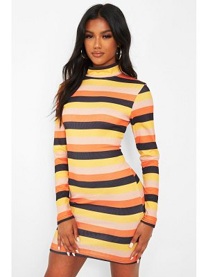 Boohoo Rib Roll Neck Stripe Mini Dress