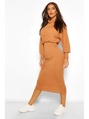 Boohoo Rib Roll Neck Sweater And Midi Skirt Co-Ord
