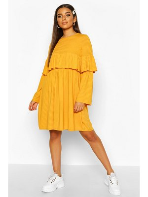Boohoo Rib Ruffle Detail Long Sleeve Smock Dress