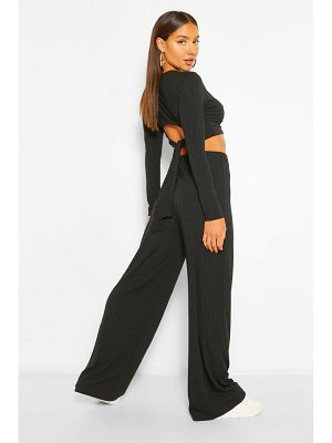 Boohoo Rib Tie Back Top And Wide Trouser Co-Ord