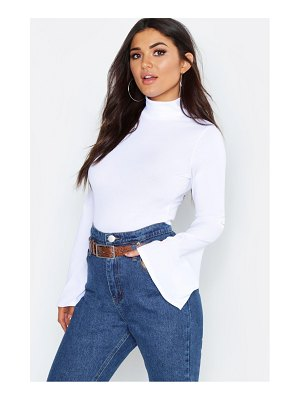 Boohoo Rib Turtle Neck Flare Sleeve Top