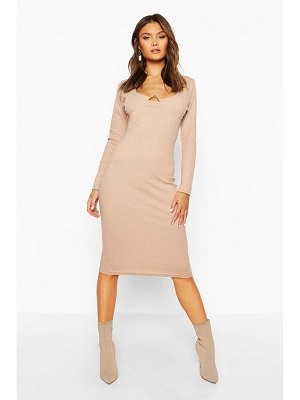 Boohoo Rib V Bar Long Sleeve Midi Dress