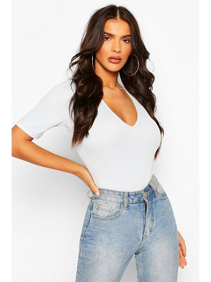 Boohoo Rib V-Neck Short Sleeve One Piece