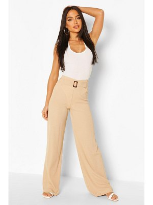 Boohoo Rib Wide Leg Trouser With Buckle Front