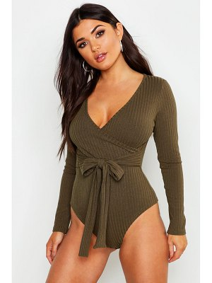 Boohoo Rib Wrap Front one piece