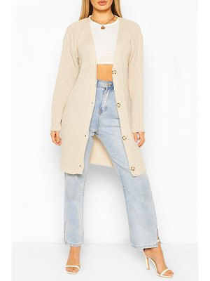 Boohoo Ribbed Button Through Cardigan