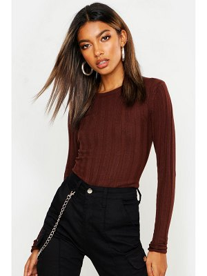 Boohoo Ribbed Crew Neck Knitted Top