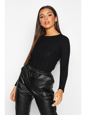 Boohoo Ribbed Crew Neck Slim Fit Top