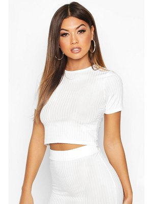 Boohoo Ribbed Crop Tee