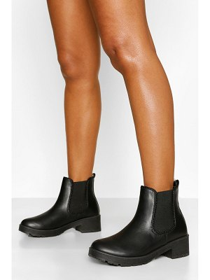 Boohoo Ribbed Detail Chunky Chelsea Boots