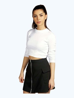 Boohoo Ribbed High Neck Long Sleeve Crop Top