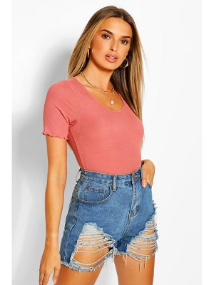 Boohoo Ribbed Lettuce Edge T-Shirt