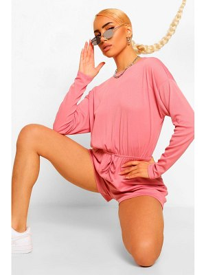 Boohoo Ribbed Long Sleeved Drawstring Waist Romper