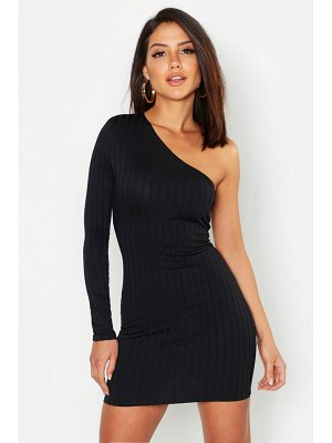 Boohoo Ribbed One Shoulder Bodycon Dress