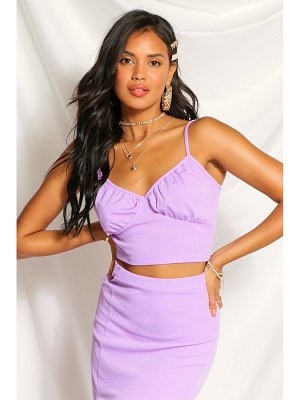 Boohoo Ribbed Ruched Bust Crop