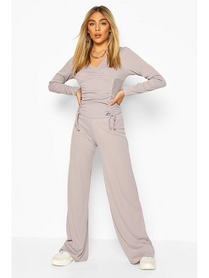 Boohoo Ribbed Ruched Top & Wide Leg Trouser Co-ord