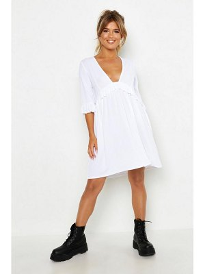 Boohoo Ribbed Ruffle Smock Dress