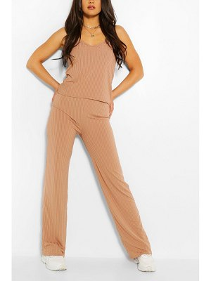 Boohoo Ribbed Scoop Neck Top & Wide Leg Trouser Co-Ord