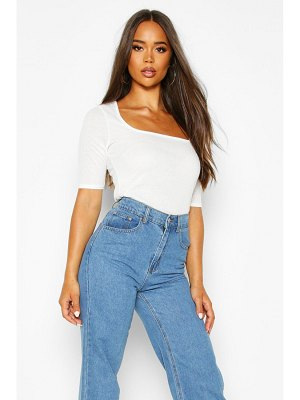 Boohoo Ribbed Square Neck Short Sleeve Top