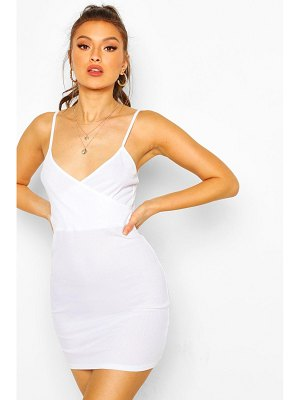 Boohoo Ribbed Strappy Wrap Front Bodycon Dress