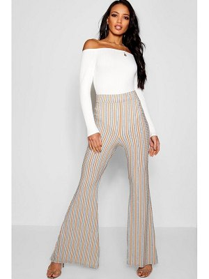 Boohoo Ribbed Striped Flare Pants