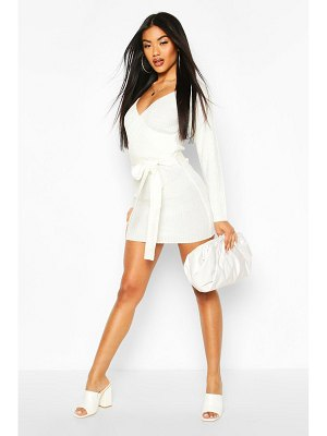 Boohoo Ribbed Wrap Belted Knitted Dress