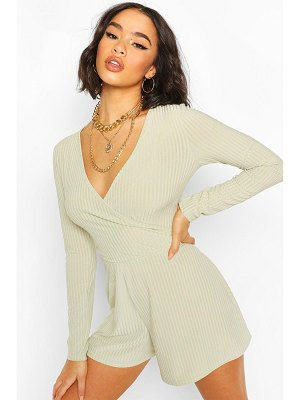 Boohoo Ribbed Wrap Front Romper