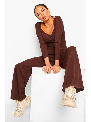 Boohoo Ribbed Zip Through Wide Leg Jumpsuit
