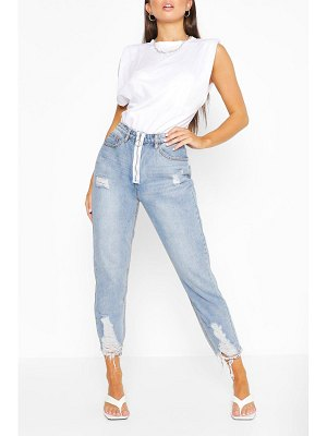 Boohoo Ripped Fray Hem Straight Leg Jean