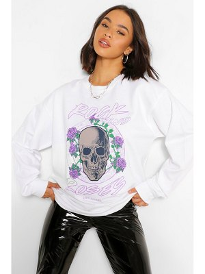 Boohoo Rock And Roses Oversized Sweater