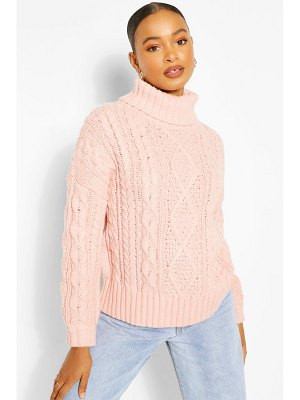 Boohoo Roll Neck Cable Knit Sweater