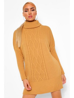 Boohoo Roll Neck Cable Sweater Dress