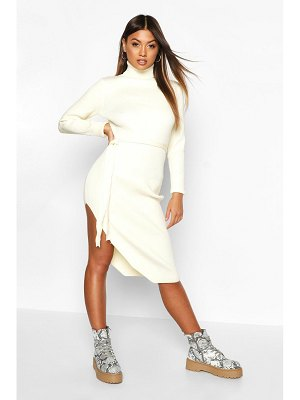 Boohoo Roll Neck Knitted Slit Side Midi Dress