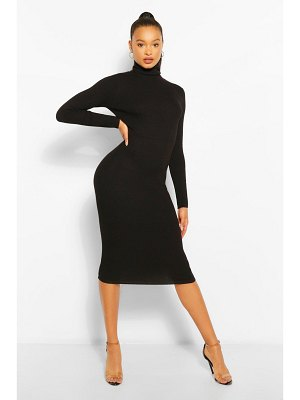 Boohoo Roll Neck Rib Knit Midi Dress