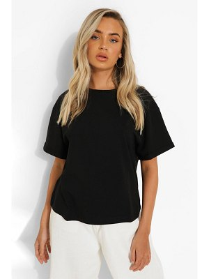 Boohoo Roll Sleeve Oversized Cropped T Shirt