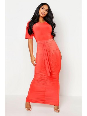 Boohoo Rouche Front Belted Maxi Dress